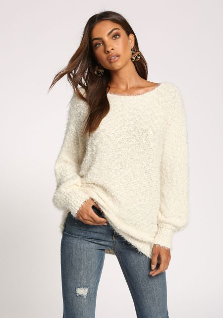 Ivory Puff Sleeve Fuzzy Knit Sweater Top
