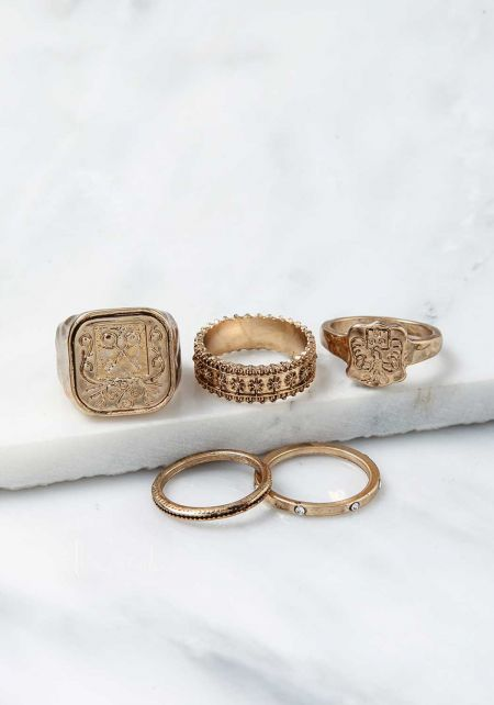 Gold Engraved Assorted Rings Set