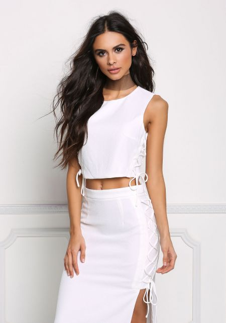 White Side Lace Up Crop Top