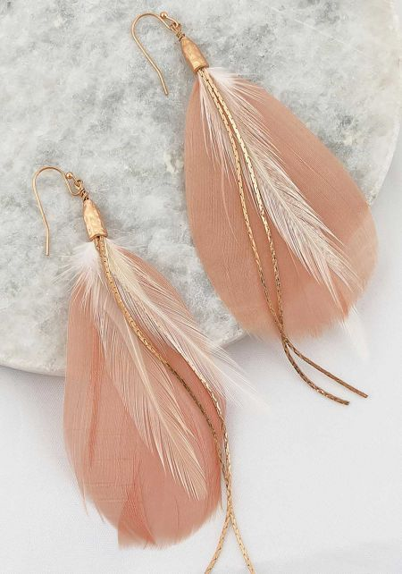 Blush Thin Chain Feather Earrings