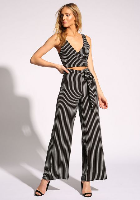 Black Pinstripe Cut Out Waist Tie Jumpsuit