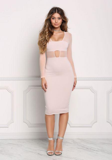 Blush Mesh Plunge Cut Out Bodycon Dress