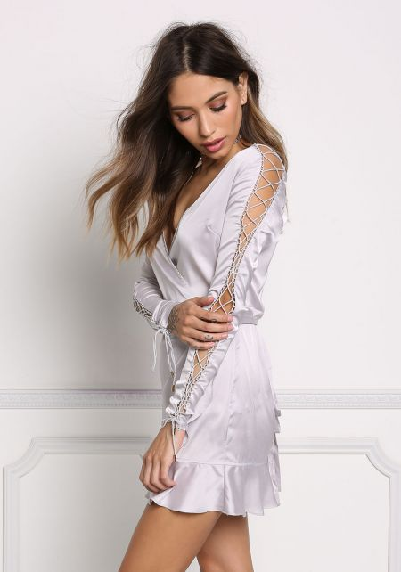 Silver Silky Sleeve Lace Up Wrap Dress