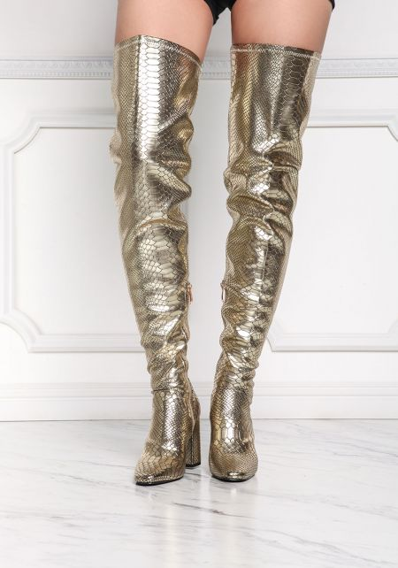 Cape Robbin Gold Metallic Faux Snake Skin Over The