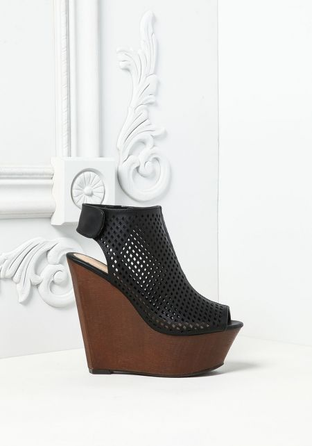 Black Leatherette Perforated Wedges