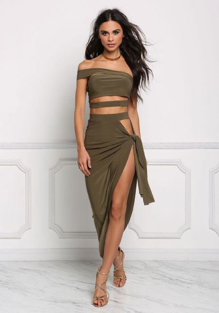 Olive Sarong High Slit Maxi Skirt