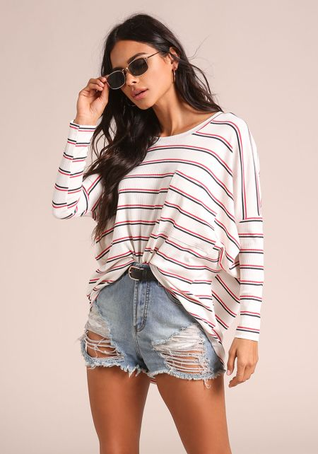 Ivory Stripe Pocket Oversized Dolman Top
