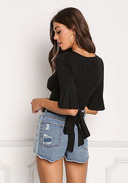 Black Jersey Knit Tie Back Crop Top