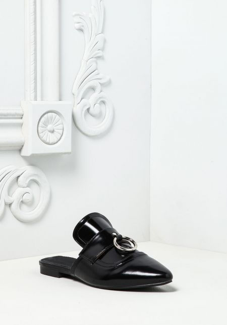 Cape Robbin Black Leatherette Loafer Slides
