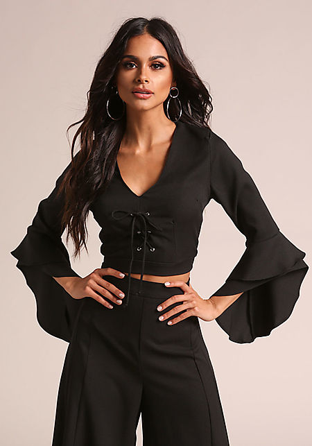 Black Lace Up Bell Sleeve Crop Top