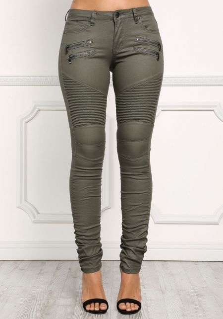 Olive Low Rise Embossed & Ruched Pants