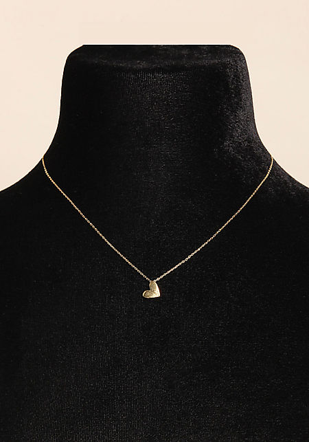 Gold Dainty Heart Charm Necklace