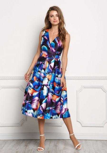 Blue Taffeta Floral Print  A-Line Midi Dress