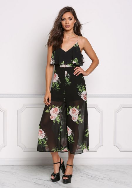 Black Chiffon Floral Layered Cropped Jumpsuit