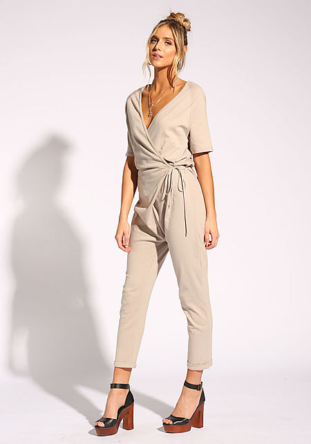 Taupe Low V Wrap Jumpsuit