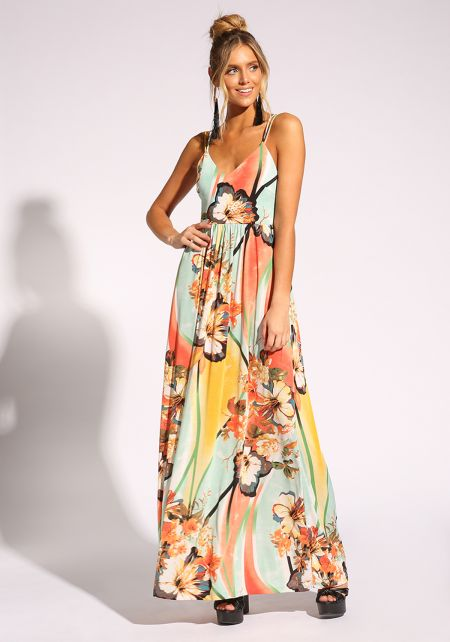 Multi Floral Cross Strap Maxi Dress
