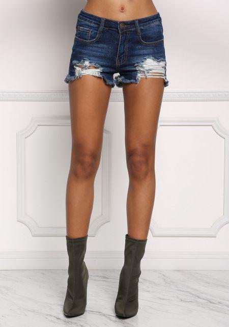 Dark Denim Distressed & Frayed Shorts
