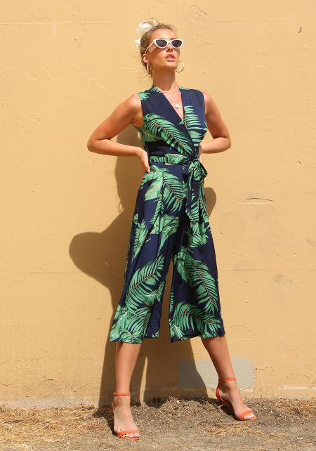 Navy Tropical Leaf Cropped Palazzo Jumpsuit