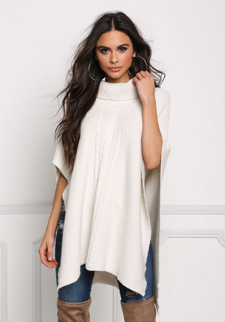 Ivory Turtleneck Cable Knit Poncho Sweater Top