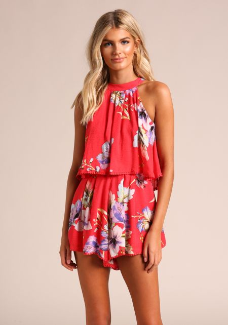 Red Floral Layered Flared Romper