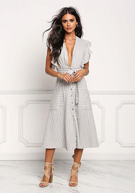 Grey Pinstripe Plunge A-Line Midi Dress