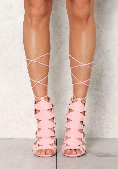 Rose Suedette Diamond Cut Out Lace Up Heels