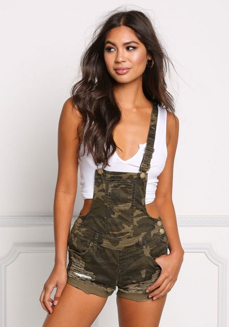 Camouflage Denim Distressed & Frayed Overalls