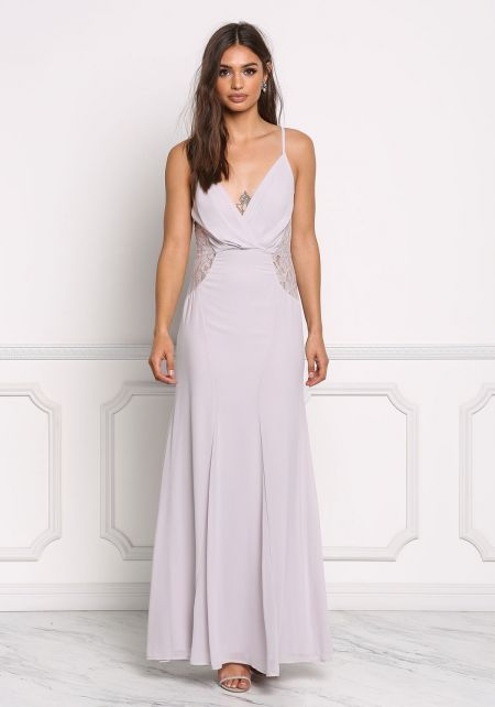 Light Grey Lace Trim Chiffon Maxi Gown