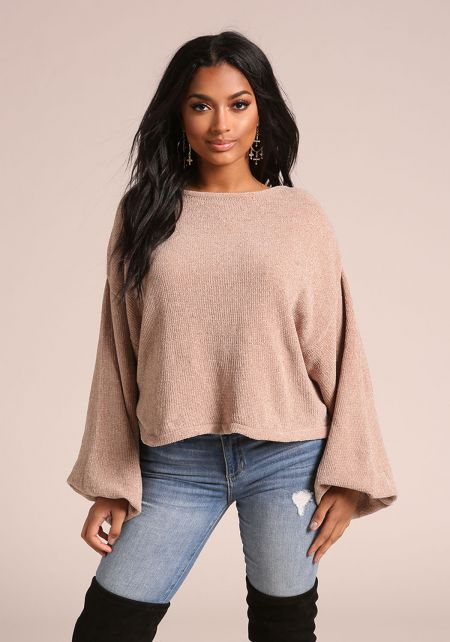 Khaki Puff Sleeve Soft Knit Sweater Top