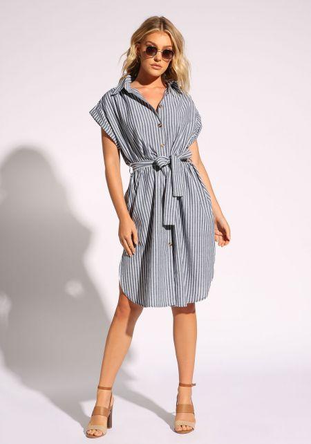 Blue Pinstripe Waist Tie Collared Dress