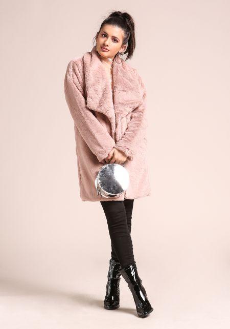 Dusty Pink Soft Faux Fur Lapel Coat