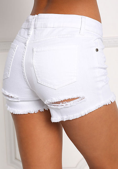 White Back Distressed Denim Shorts
