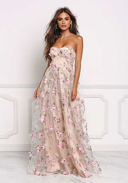 Rose Layered Applique Bustier Maxi Gown