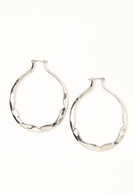 Silver Swirl Hoop Earrings