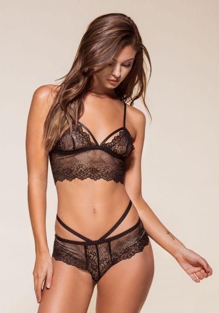 Black Floral Lace Double Strap Panties
