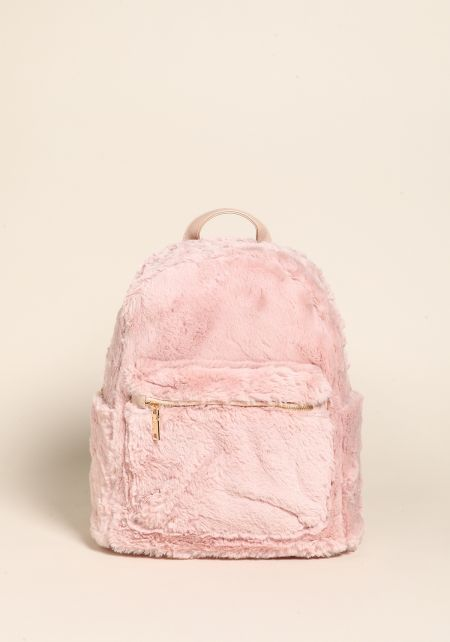 Pink Fuzzy Faux Fur Backpack