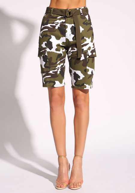 Olive Belted Camo Bermuda Shorts