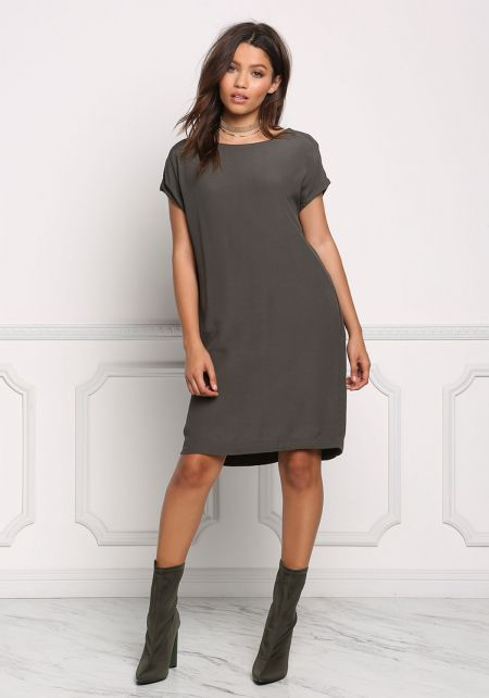 Olive Pocket Front Shift Woven Dress