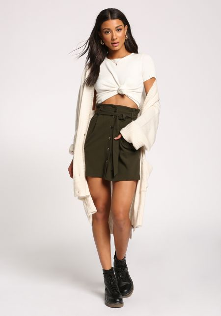 Olive Buttoned Paperback High Rise Skirt