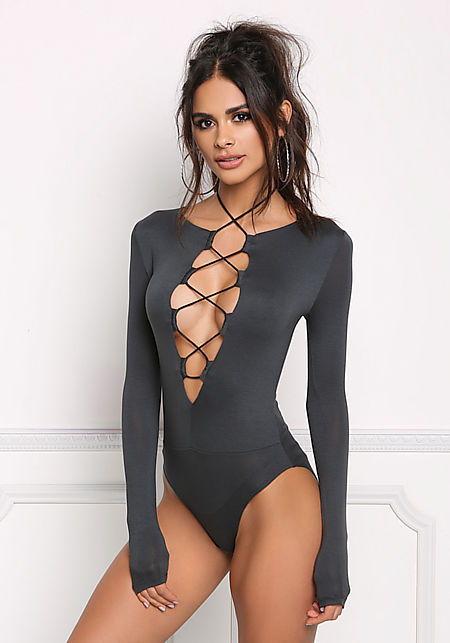 Charcoal Low Cut Lace Up Bodysuit