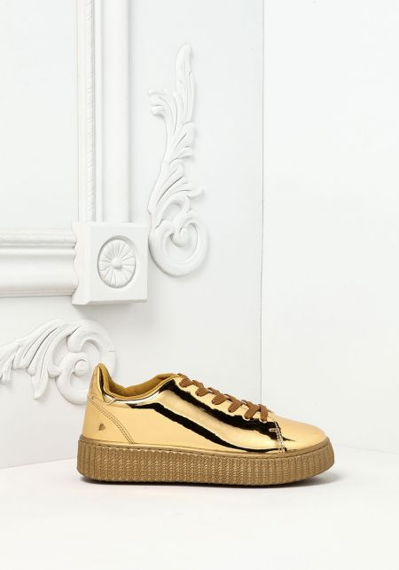 Gold Chrome Platform Sneakers