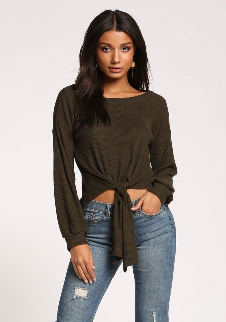 Olive Tie Front Ribbed Knit Top