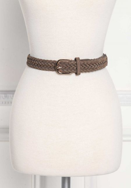Olive Suedette Braided Belt