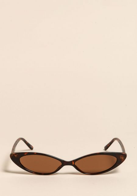 Leopard Skinny Oval Cat Eye Sunglasses