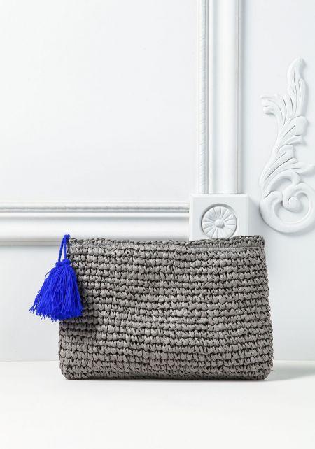 Grey Woven Tassel Clutch
