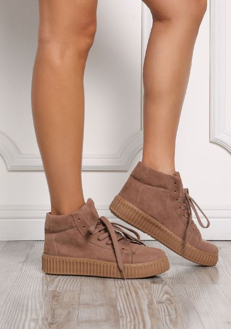 Taupe High Top Suedette Sneakers