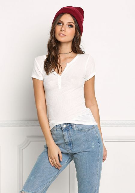 White Ribbed Knit T-Shirt