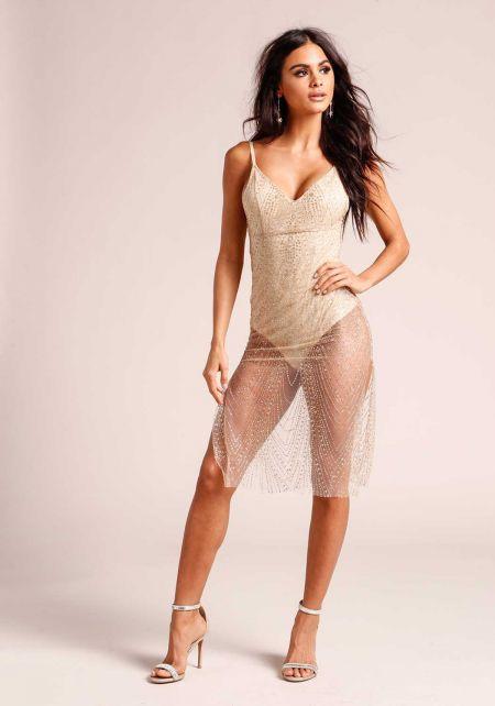 Gold Tulle Glitter Slit Bodycon Dress