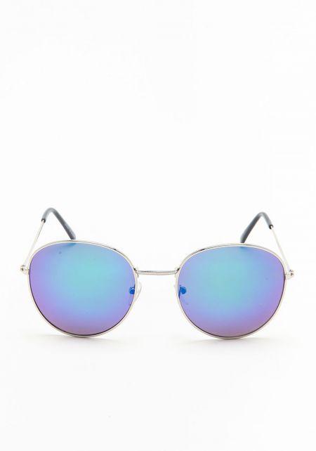 Purple Round Mirrored Sunglasses