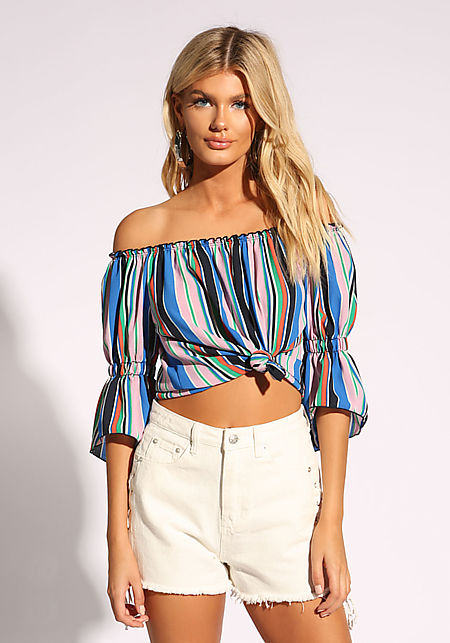 Multi Stripe Off Shoulder Blouse